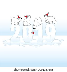 Four Cute Polar Bears wearing Santa Hats Balancing on Melting Frozen New Year 2019 with Reflections in an Ice Cold Puddle