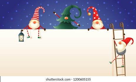 Four cute Scandinavian Christmas Gnomes climb up the billboard using ladders. One hidden in pine tree, one with lantern
