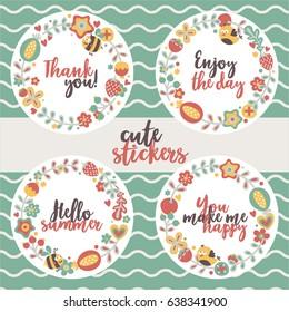 four cute stylish floral design gentle wreath vintage flowers postcard sticker bird bee