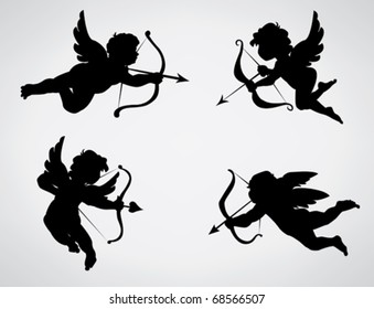 Four cute Valentine's angel silhouette