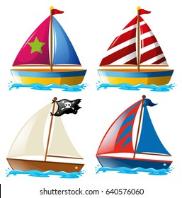 Four designs of sailboats illustration