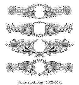 four detailed art nouveau style floral frames - perfect as chapter dividers or for romantic cards such as wedding invites