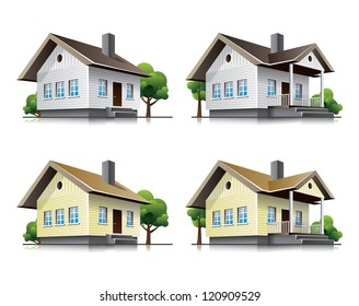 Four detailed wooden cottages vector icons in cartoon style. Family house vector buildings in perspective view. Home architecture with wood facade.