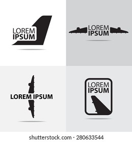 Four different air plane logo design. (Set of Airplane logo)