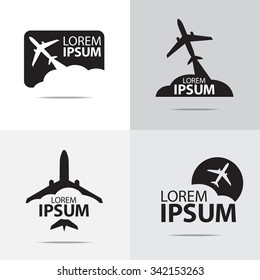 four different airplane logo design