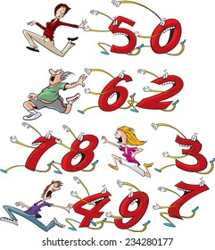 Four different cartoon characters running from, or chasing their birthday age. (Example: first row shows woman running from 50). Build your own birthday card. Layered Vector file available.