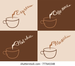 four different coffee types objects are in different layers and all of them convenient to use without background an other objects. The text types did converted to outlines and don't need any fonts.
