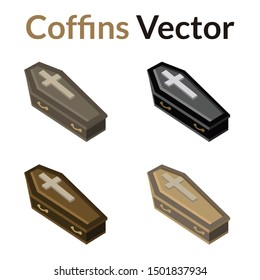 Four different color illustrations of coffins.