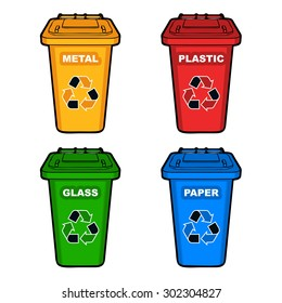 four different colored recycling bins with recycle sign vector