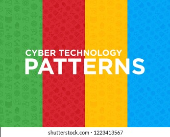 Four different Cyber technology seamless patterns with thin line icons: ai, virtual reality glasses, bionics, robotics, global network, computer game, microprocessor, nano robots. Vector illustration