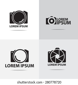 Four different digital camera logo design. (Set of camera logo design)