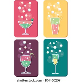 four different drinks and cocktails icon logos