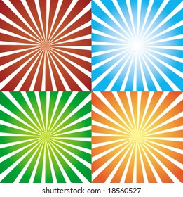 Four different gradient starbursts, fully editable