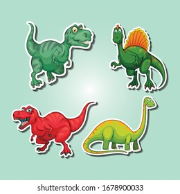 Four Different kind of dinosaurs illustration.