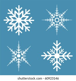 Four different kinds of snowflakes