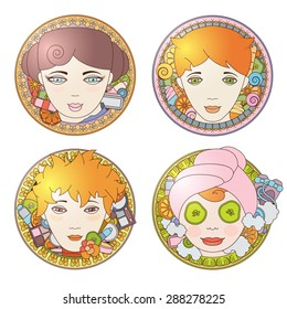 Four different kinds of women faces in circle borders with cosmetics and accessories