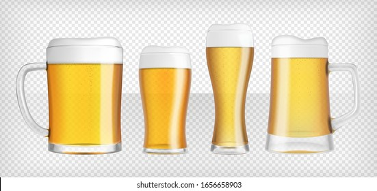 Four different lager beer glasses and mugs