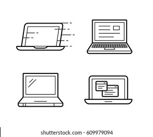Four different laptop vector icons. Vector illustration.