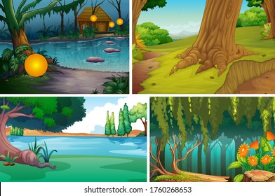 Four different nature scene of forest and river cartoon style illustration