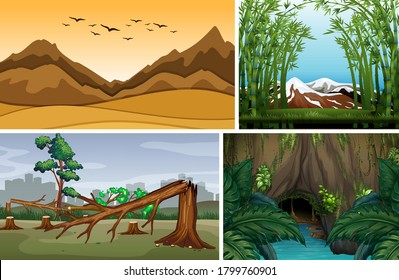 Four different nature scene of forest cartoon style illustration