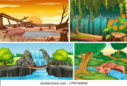 Four different nature scene of forest and water fall cartoon style illustration