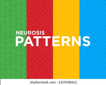 Four different Neurosis seamless pattern with thin line icon: panic attack, headache, fatigue, insomnia, despair, phobia, mood instability, stuttering, psychalgia. Vector illustration.