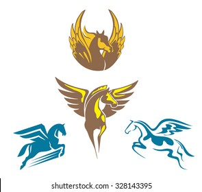 Four different pegasus vector illustration
