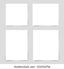 Four different pieces blank, sheet of white paper with shadow. Ready for your design. Vector illustration, eps10.