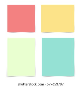Four different pieces blank sheet of colorful paper with shadow. Ready for your design. Vector illustration, eps10.