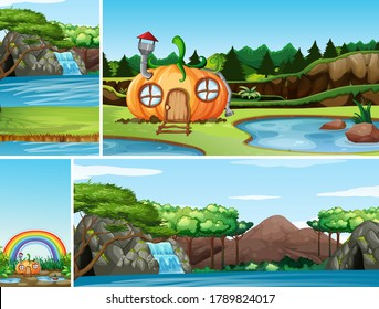 Four different scene of nature fantasy world with pumpkin house in the fairy tale and water fall nature scene illustration