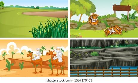 Four different scenes of nature illustration