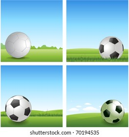 four different soccer ball background