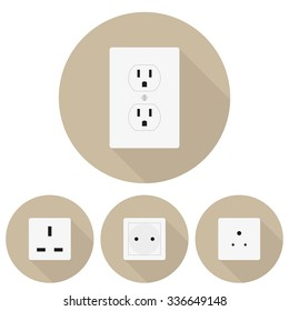 Four  different types of sockets in a flat design