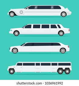 Four different white limousines isolated on a light background. No gradients. Vector illustration.
