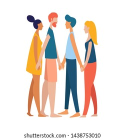 Four different women and men polyamorist gay homosexual lesbian holding hands together. Multiethnic gruop of lovers. Rainbow colored vector illustration poster flat style