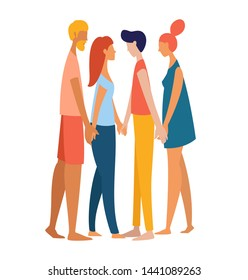 Four different women and men polyamorist heterosexual straight holding hands together. Multiethnic gruop of lovers. Rainbow colored vector illustration poster flat style