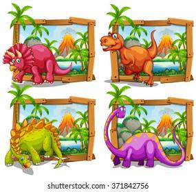 Four dinosaurs in wooden frame illustration