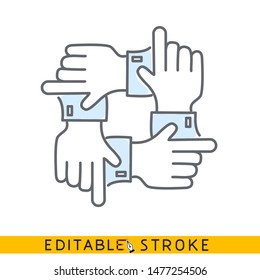 four direction hands icon. Teamwork concept. Sketch line flat icon of hand. Modern vector illustration concept. Editable outlines stroke. - Vector