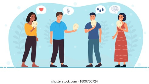 Four diverse people expressing positive emotions lowering masks from their faces with icons of love and music, colored vector illustration