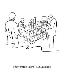 vier Ärzte kümmern sich um einen Patienten auf dem Bett in einer Vektorgrafik-Skizze, die mit schwarzen Linien einzeln auf weißem Hintergrund handgezeichnet ist