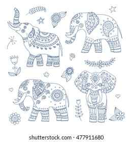 Four doodle vector elephants and floral elements for design