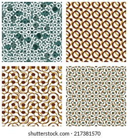 Four dotted seamless patterns with rings, set of brown polka dot tiles, infinite geometric surface textures with dots and circles, neutral transparent tiling.