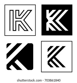 Four Elegant Abstract Lines and Square K Letter Logo Set