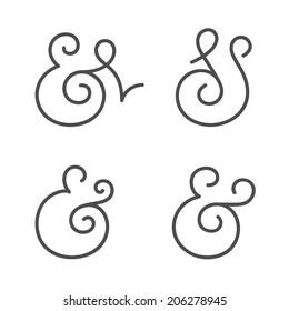 Four elegant and stylish custom ampersands for wedding invitation or business card. Vector illustration