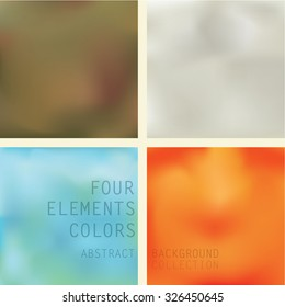 Four Elements Abstract Background Set Set of four different colored backgrounds representing four elements earth,air,water and fire in brown,grey,blue and orange color respectfully.