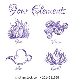 Four elements. Fire, water, air, earth. Set of outline vector illustrations isolated on white background.