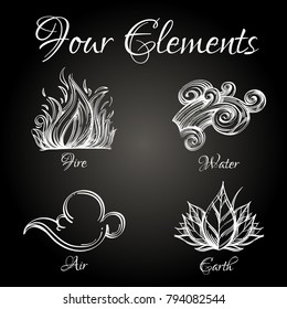 Four elements. Fire, water, air, earth. Set of outline vector illustrations on black background.