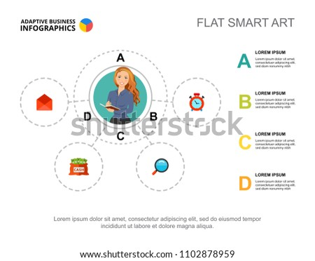 Four Elements Flowchart Template Presentation Business Stock Vector