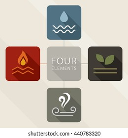 Four Elements Icons, Flat Design, Mind map style.