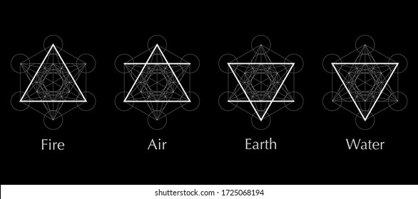 four elements icons, line, triangle and round symbols set template. Air, fire, water, earth symbol. Pictograph. Alchemy symbols isolated on black background. Magic vector decorative elements
